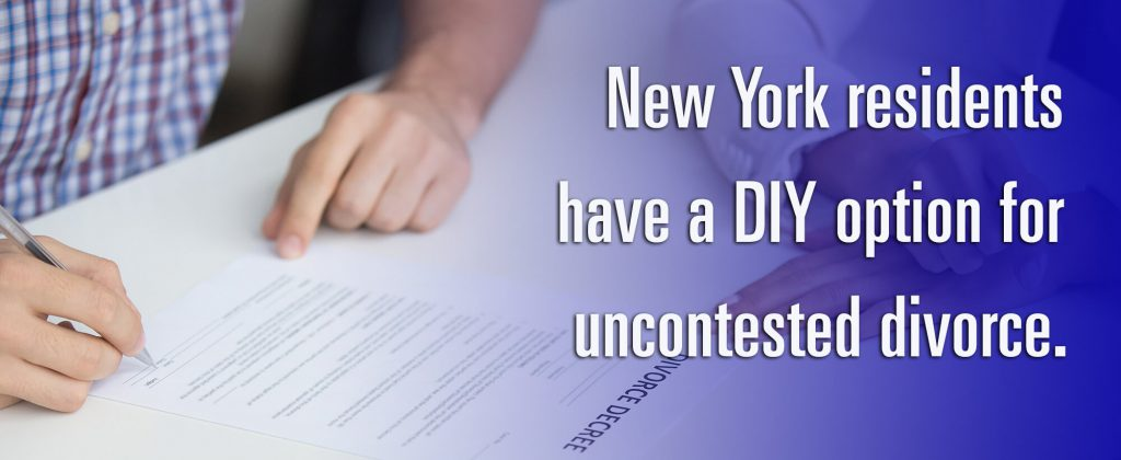 New York residents have a DIY option for uncontested divorce that saves the cost of a lawyer.